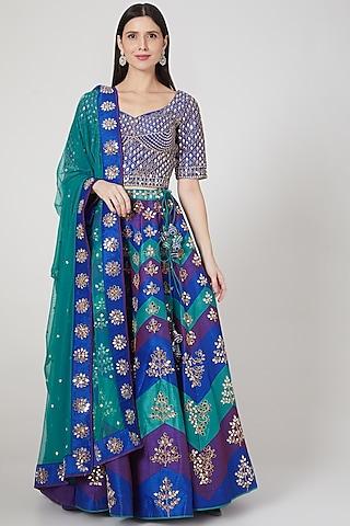 Blue & Turquoise Embroidered Lehenga Set by Vandana Sethi