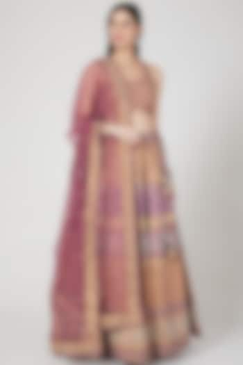 Champagne & Purple Embroidered Lehenga Set by Vandana Sethi