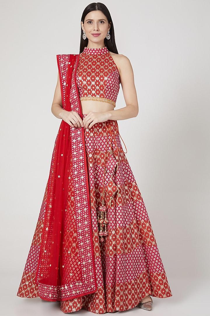 Red & Fuchsia Embroidered Lehenga Set by Vandana Sethi