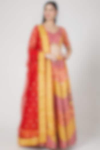 Multi Colored Embroidered Lehenga Set by Vandana Sethi