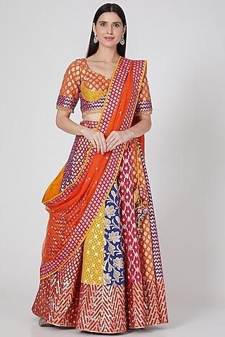 Multi Colored Mirror Embroidered Lehenga Set by Vandana Sethi
