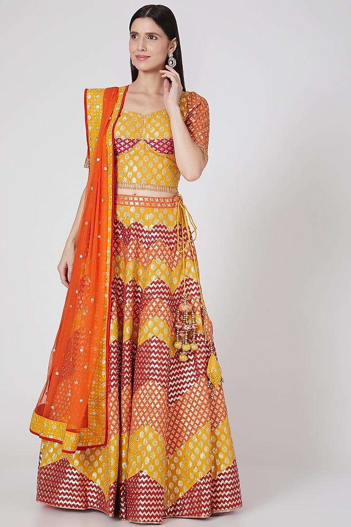 Multi Colored Embroidered & Brocade Lehenga Set by Vandana Sethi