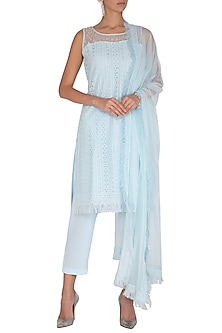 Sea Blue Embellished Kurta Set by Vandana Sethi