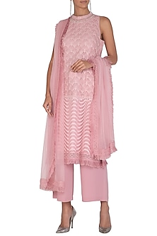 Blush Pink Embellished Kurta Set by Vandana Sethi