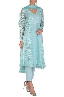 Aqua Blue Embellished Kurta Set by Vandana Sethi