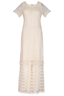 Ivory Embellished Sharara Set by Vandana Sethi