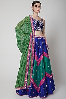 Cobalt Blue Mirror Embroidered Lehenga Set by Vandana Sethi