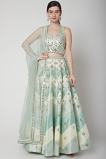 Emerald Green Embroidered Chevron Lehenga Set by Vandana Sethi