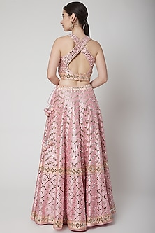 Blush Pink Mirror Embroidered Lehenga Set by Vandana Sethi