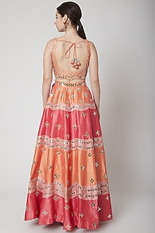 Peach Mirror Embroidered Lehenga Set by Vandana Sethi