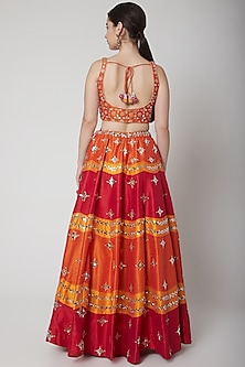 Orange Mirror Embroidered Lehenga Set by Vandana Sethi