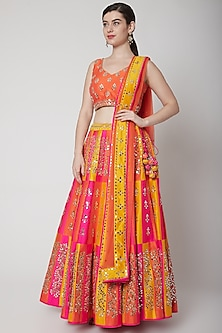 Orange Embroidered Lehenga Set by Vandana Sethi