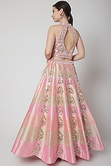 Blush Pink Dupion Silk Embroidered Lehenga Set by Vandana Sethi