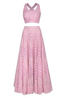 Pink Embroidered Lehenga Set by Vandana Sethi