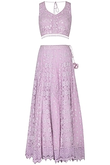 Lavender Embroidered Lehenga Set by Vandana Sethi