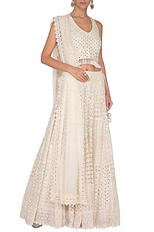 Ivory Embroidered Lehenga Set by Vandana Sethi