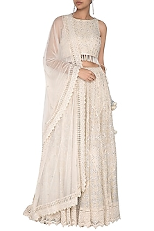 Ivory Embroidered Chikankari Lehenga Set by Vandana Sethi