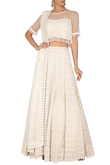 Ivory Mirror Embroidered Lehenga Set by Vandana Sethi