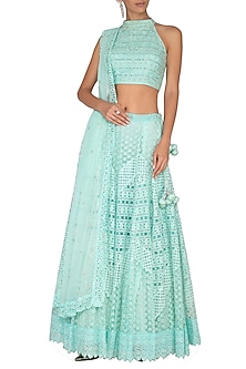 Light Turquoise Embroidered Lehenga Set by Vandana Sethi