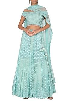 Light Turquoise Embroidered Off Shoulder Lehenga Set by Vandana Sethi