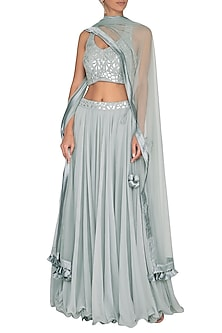 Light Grey Chiffon Lehenga Set by Vandana Sethi
