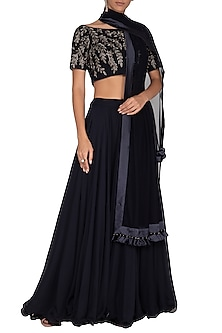 Dark Blue Embroidered Lehenga Set by Vandana Sethi
