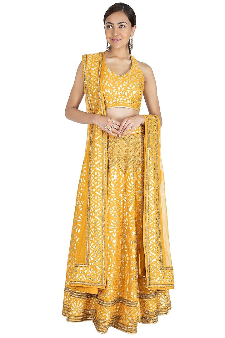 Mustard Yellow Embroidered Lehenga Set by Vandana Sethi