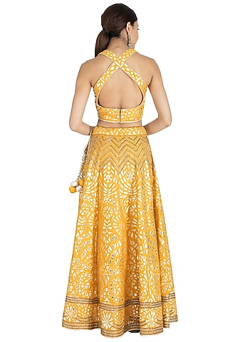 Mustard Yellow Embroidered Lehenga Set by Vandana Sethi