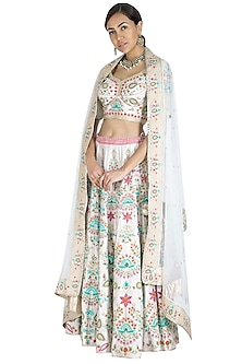 Ivory Zircon Embroidered Lehenga Set by Vandana Sethi