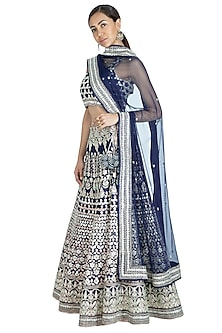 Midnight Blue Embroidered Lehenga Set by Vandana Sethi