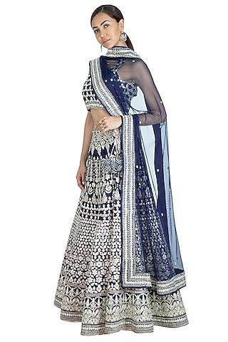 Midnight Blue Embroidered Lehenga Set by Vandana Sethi