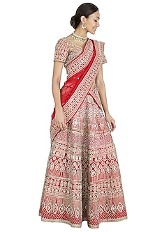 Red Embroidered Lehenga Set by Vandana Sethi