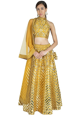 Olive Embroidered Lehenga Set by Vandana Sethi