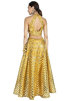 Olive Green Embroidered Lehenga Set by Vandana Sethi