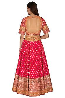 Fuchsia Pink Embroidered Lehenga Set by Vandana Sethi