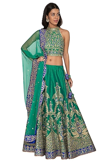 Green & Blue Embroidered Lehenga Set by Vandana Sethi