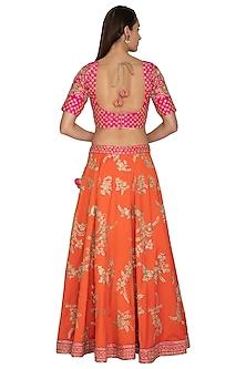 Orange Embroidered Lehenga Set by Vandana Sethi