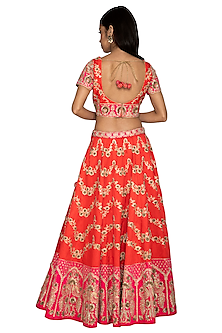 Orange & Fuchsia Embroidered Lehenga Set by Vandana Sethi