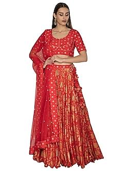 Red Printed & Embroidered Lehenga Set by Vandana Sethi
