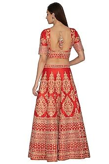 Red Embroidered Lehenga Set by Vandana Sethi