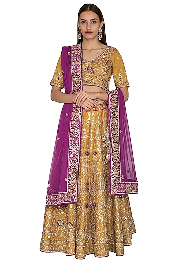 Mustard & Purple Embroidered Lehenga Set by Vandana Sethi