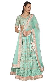 Turquoise Embroidered Lehenga Set by Vandana Sethi