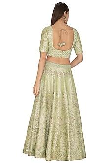 Light Green Embroidered Lehenga Set by Vandana Sethi