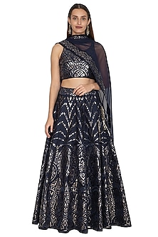 Royal Blue Leather Embroidered Lehenga Set by Vandana Sethi