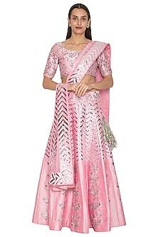 Pink Leather Embroidered Lehenga Set by Vandana Sethi