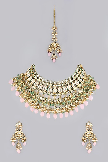 Gold Finish Beads Choker Necklace by VASTRAA Jewellery