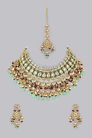 Gold Finish Red Beads Necklace by VASTRAA Jewellery