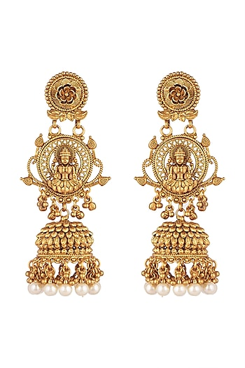 Gold Finish Temple Earrings by VASTRAA Jewellery