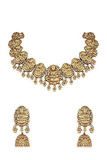 Gold Finish Temple Necklace Set by VASTRAA Jewellery