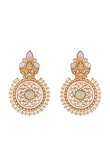 Gold Finish Meenakari Earrings by VASTRAA Jewellery-JEWELLERY ON DISCOUNT